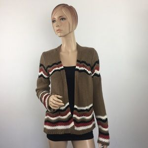 BKE Open-Front Knit Striped Cardigan Medium